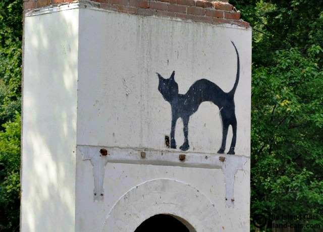 Black cat painted on fireplace in Grosse Ile