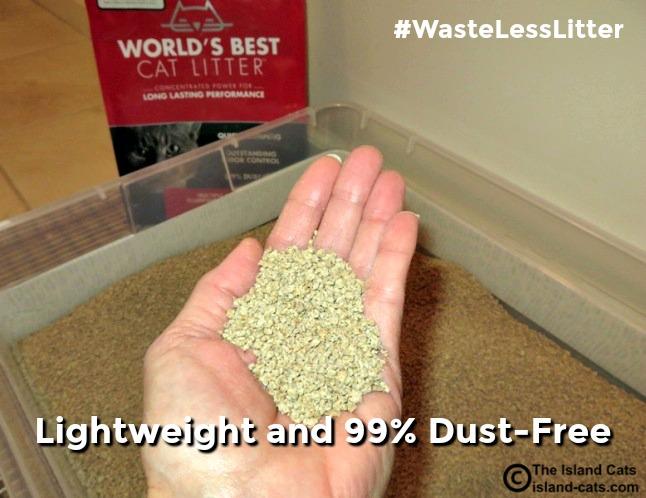 World's Best Cat Litter is lightweight and dust free #WasteLessLitter
