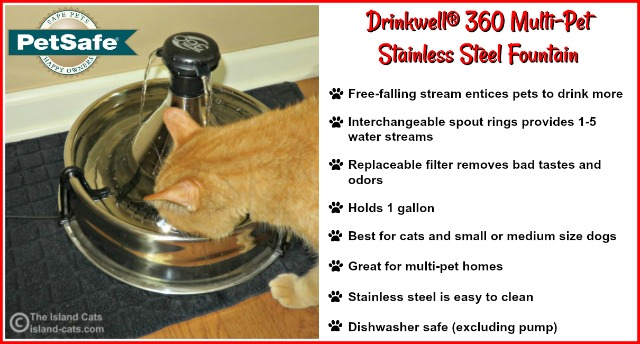 Features of the Drinkwell 360 Stainless Steel Fountain