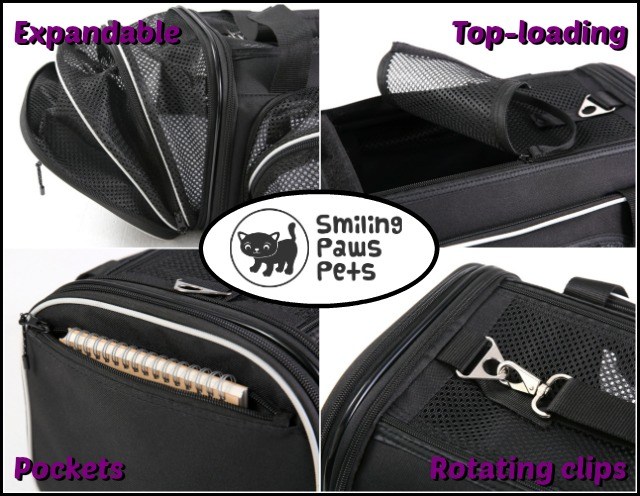 Smiling Paws Pets expandable pet carrier