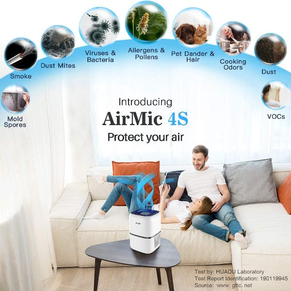 Graphic showing types of things the Okaysou AirMic 4S air purifier can remove from the air