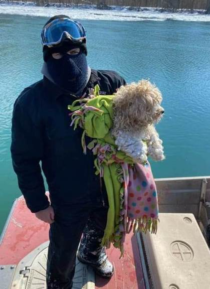 Close up of rescuer with dog